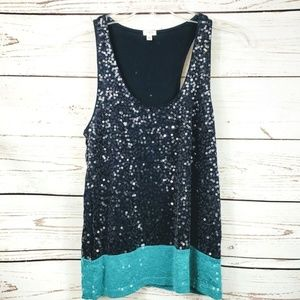 J Crew Tank Top Sequin Color Block Size XS